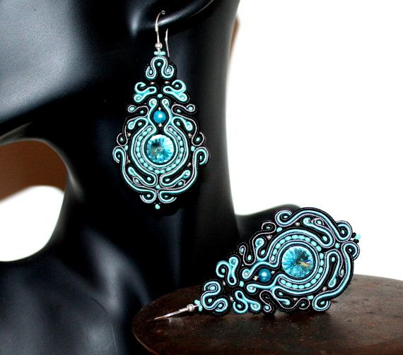 Large Soutache Classic Earrings with Swarovski Rivoli Light Turquoise Crystals, Chandelier, Turquoise, Black and Grey, Bijoux, Perfect Gift