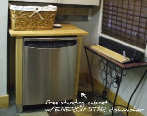 dishwasher w/free standing cabinet - works for now