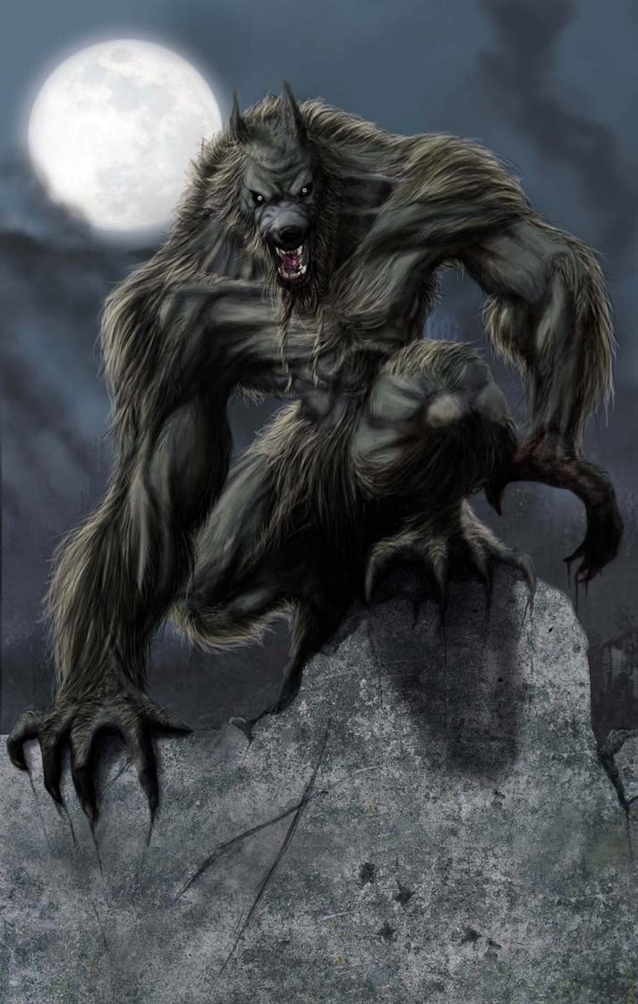Not how I've written the werewolves in my book, but I like the traditional looking lycanthropes nevertheless. They chill me.