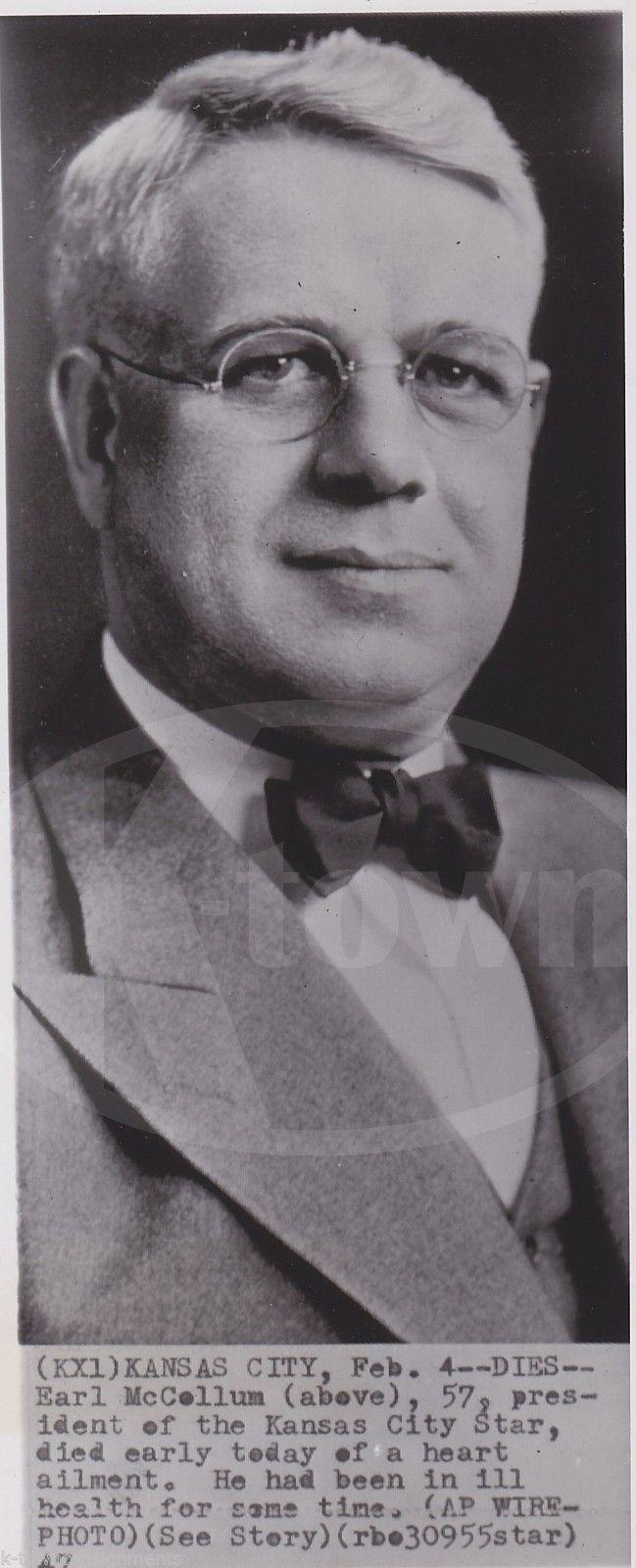 EARL McCOLLUM KANSAS CITY STAR NEWSPAPER PRESIDENT VINTAGE NEWS PRESS PHOTO 1947