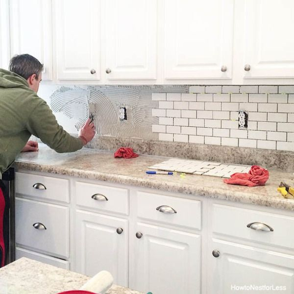 how to install a kitchen backsplash - White Kitchen With Subway Tile Backsplas