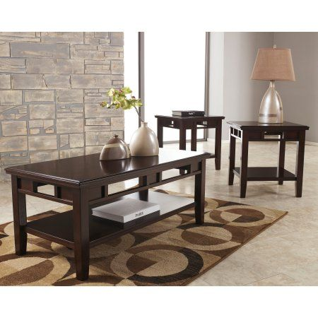 Flash Furniture Signature Design by Ashley Logan 3 Piece Occasional Table Set Dark Brown