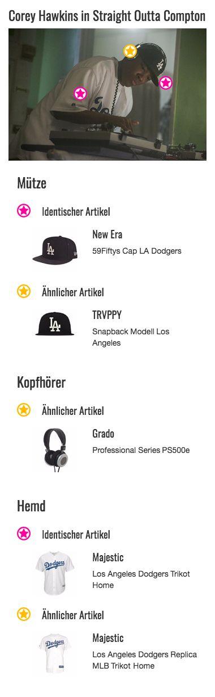 Auch Dr. Dre Darsteller Corey Hawkins greift auf eine schwarze Snapback Cap mit weißem L.A. Dodgers Logo zurück. Das nahe an Compton gelegene Los Angeles steht hier symbolisch für die Herkunft des Rappers von der Westcoast. Der starke Kontrast lässt die Mütze auffallen und passt ebenfalls gut zu seinem sportlichen Outfit.