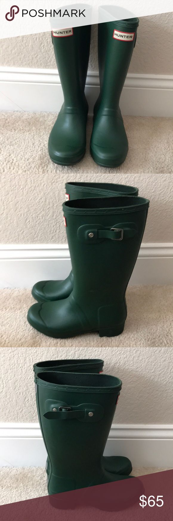 FOREST GREEN HUNTER BOOTS💚 Kids size 3 super cute and comfy galoshes. Bought at the end of winter, worn 2 times. Sadly my foot grew over summer and they no longer fit. In almost new condition, fits a women's        5/5.5💖bundle to save, make an offer😊 Hunter Boots Shoes Winter & Rain Boots