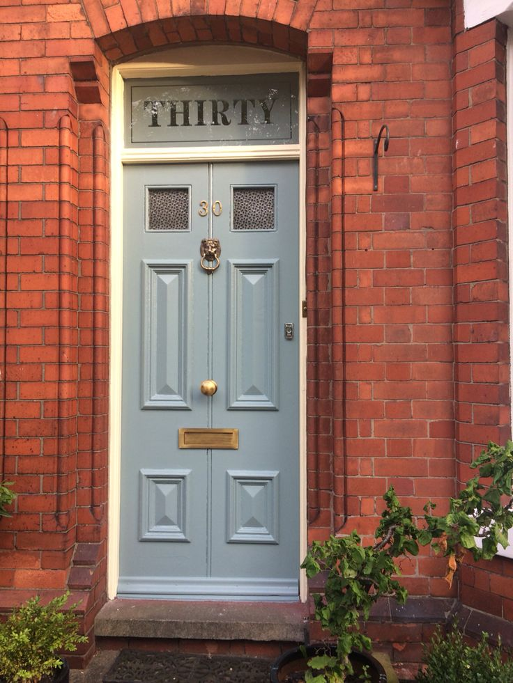 Victorian front door in Farrow and Ball Oval Room Blue with Slipper Satin frame. Etched fanlight - sandblasted glass