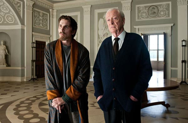 Christian Bale appears as Bruce Wayne and Michael Caine appears as Alfred in 'The Dark Knight Rises,' set to hit theaters on July 20, 2012.
