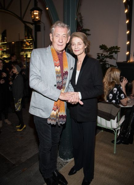 """Charlotte Rampling Photos - Sir Ian McKellen and Charlotte Rampling attend the screening of Sundance Selects' """"45 Years"""" after party hosted by The Cinema Society with Lillet and NARS at Laduree Soho on December 3, 2015 in New York City. - Screening of Sundance Selects' '45 Years' - After Party"""