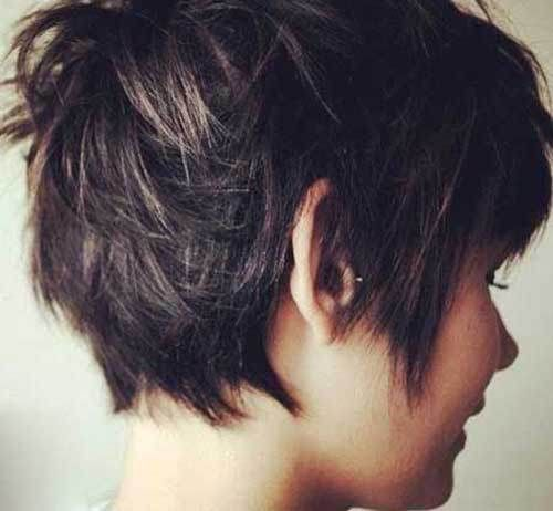 15 Messy Pixie Cuts: #2. Dark Messy Pixie Hairstyle Back View