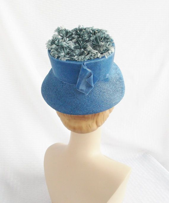 1960's Vintage Blue Lamp Shade Hat with by MyVintageHatShop