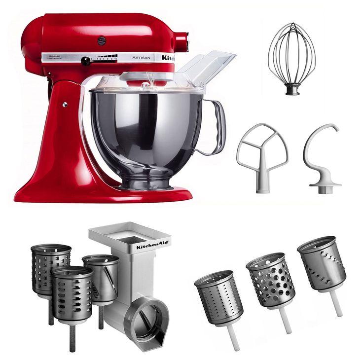 KitchenAid KSM150PSEER + MVSA + EMVSC KitchenAid 5KSM150PSEER Robot culinaire Artisan avec accessoires pour tranchoir et râpe à cylindres + set de trois cylindres (Rouge) (Import Allemagne)