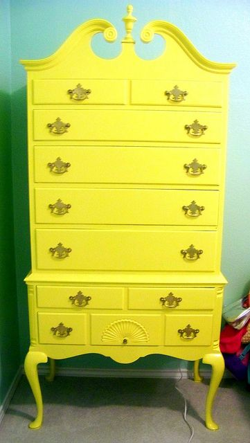 Paint a piece of furniture a bright, unexpected color.  So fun for the boys' room!