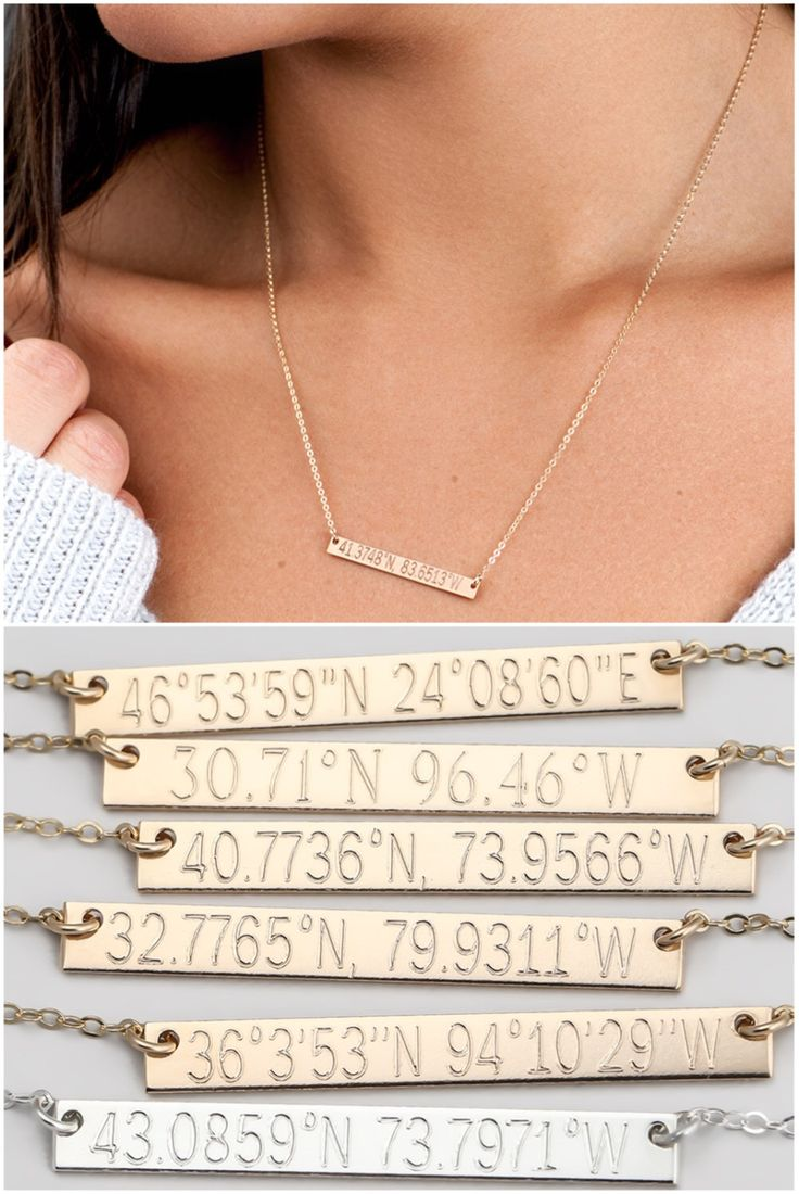 Reversible Custom Coordinates Necklace, Location GPS Coordinates, Latitude Longitude, in 14kt Gold Filled, Sterling Silver, Rose Gold H435 by BlushesAndGold on Etsy https://www.etsy.com/listing/270700814/reversible-custom-coordinates-necklace