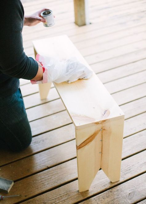 How to make a wooden-bench.  Can use this with the table for kids idea.