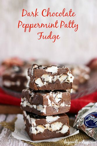 What could be better than a creamy dark chocolate fudge filled with peppermint pattys.