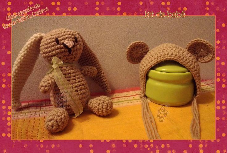 Kit de bebe, conejito + capuchita de oso