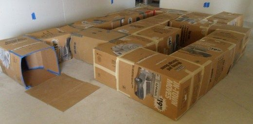 Cardboard tunnels! So temped to do this when we get to our new house and unpack everything.