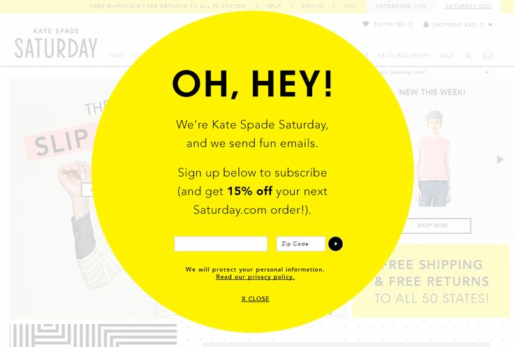 Kate Spade Saturday email marketing modal popup for newsletter signup #CTA…