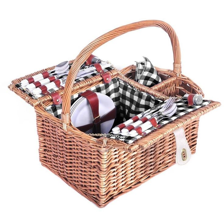 4 Person Picnic Basket Set $89.90 Blanket-Plates-Glasses- Free Delivery Aus Wide