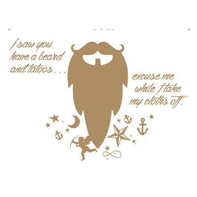 "The Decal Guru Beard Funny Quote Wall Decal Color: Light Brown, Size: 22"" H x 32"" W x 0.01"" D"