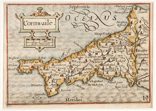 VAN DEN KEERE, Pieter. Cornwaile [Cornwall]. Original copper engraved map with later hand colouring. With decorative strapwork and a scale of miles. c. 1627. #antique