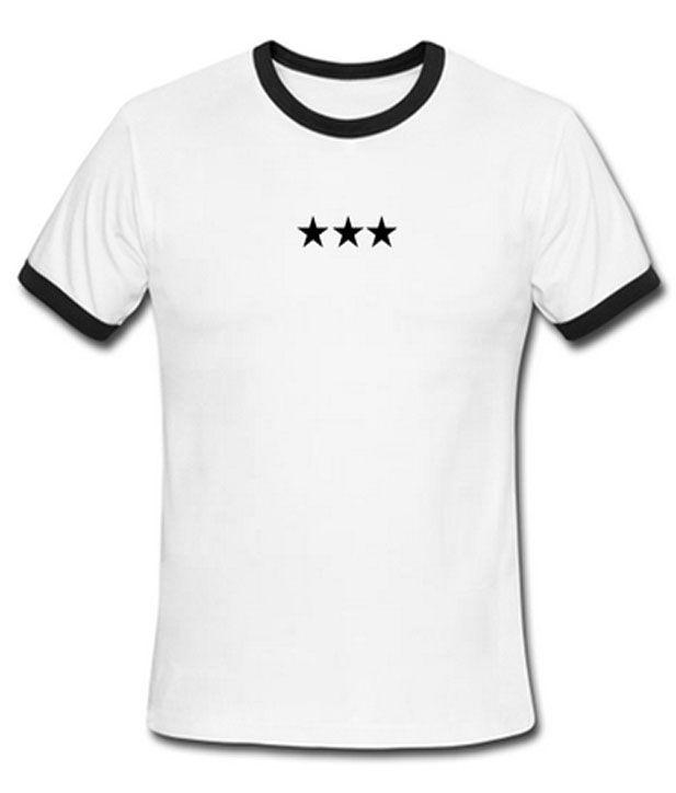 triple stars ringer t-shirt