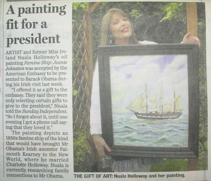 """FROM THE ARCHIVES: National media coverage in Ireland's Sunday Independent on 29 May 2011 when my Oil on Canvas painting, """"Famine Ship - Jeanie Johnston"""" was accepted by the U.S. Embassy in Dublin as a gift for U.S. President Barack Obama on his first official state visit to Ireland. #BarackObama #JeanieJohnston #IrishArt #TallShips #OilPainting #Maritime #Ireland"""
