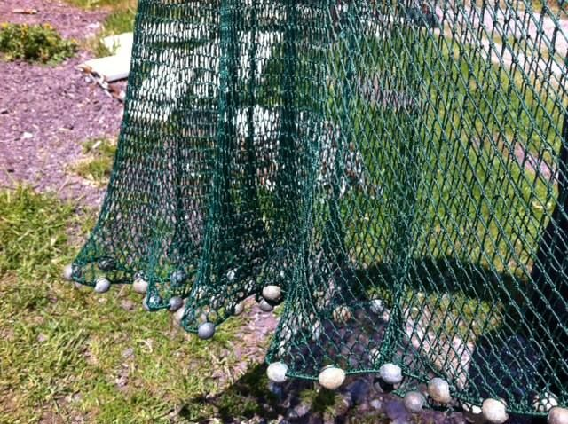 Here is the wonderful cast net that Barry knit - with all the lead weights attached that he made from molten lead. One of Newfoundland traditional talents.