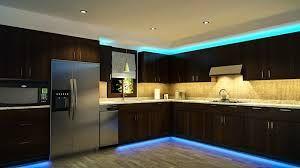 Led strip lighting in kitchen
