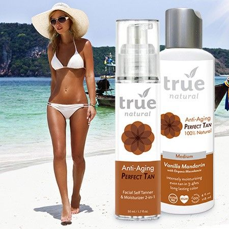 Enjoy a sun-kissed summer glow all year round with True Natural's Perfect Tan self tanning line. Set Includes: 1 - Perfect Tan - Body (4oz) and 1 - Perfect Tan - Face (1.7oz) Everything you need for a full month of gorgeous golden color, without the safety risks associated with sun exposure, tanning-beds and spray tanning!  PRICE INCLUDES FREE US STANDARD SHIPPING