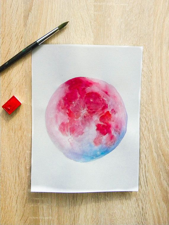 Super Blue Blood Moon Original Watercolor Painting Watercolor
