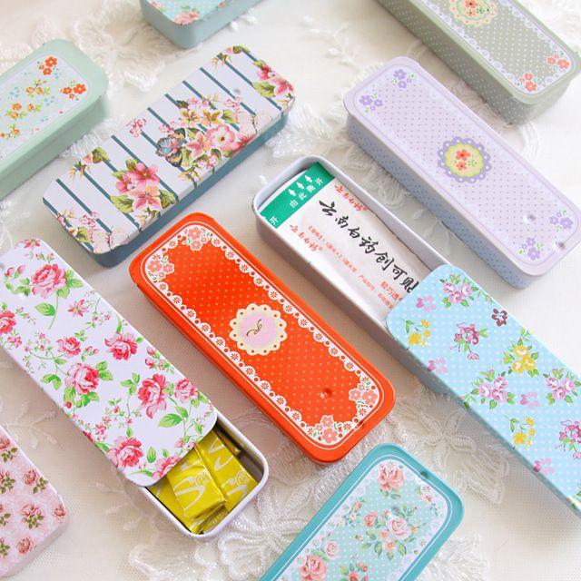 24pcs/lot Retractable Mini Tin Box Wedding Favor Candy Storage Bin Portable Medicine Cigarette Container