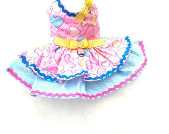 Small Chihuahua dress Dog clothing Small dog coat Hart dress puppy clothes Yorkie outfit XXS, XS Limited Availability