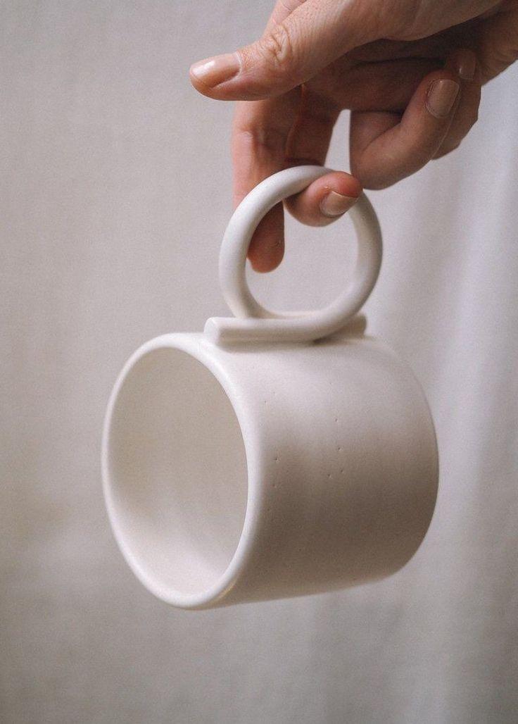 Minimalist Vase | Handmade Home Decor | Ceramic & Glass Decor | Mug Image of Loop handle mug Minimalist handmade home decor, ceramic, vase and textile. #floor #vase #filler #ideas