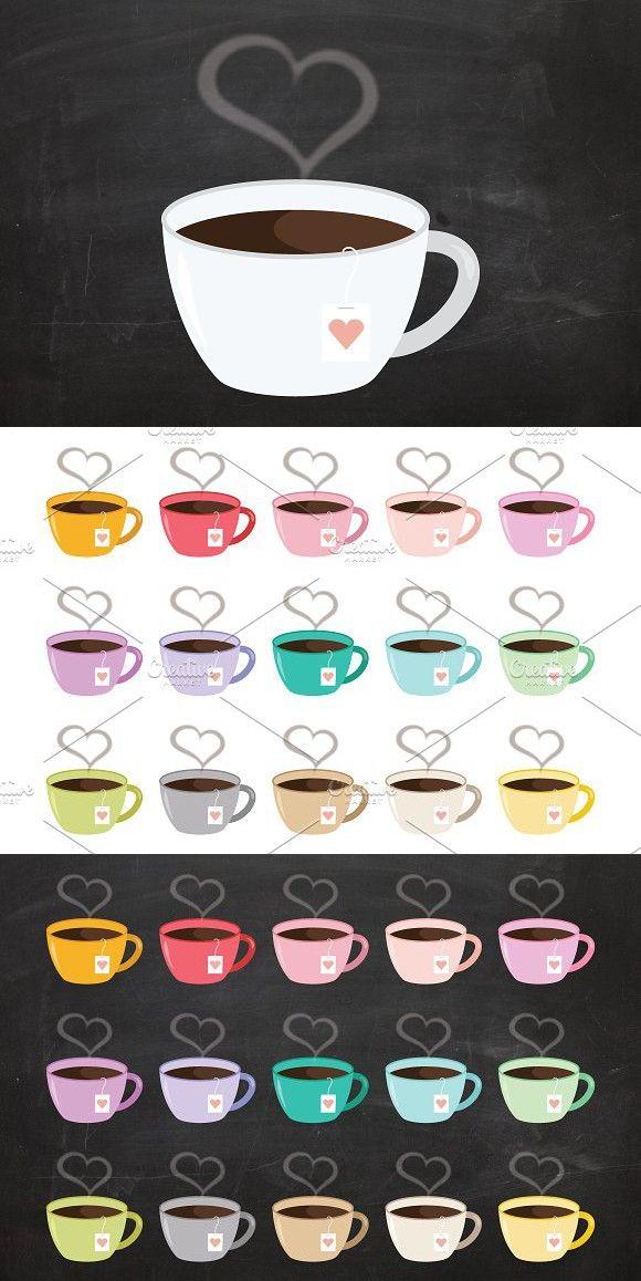 Heart Steam Tea Mug Clip Art Set Art Set Clip Art Heart Clip Art