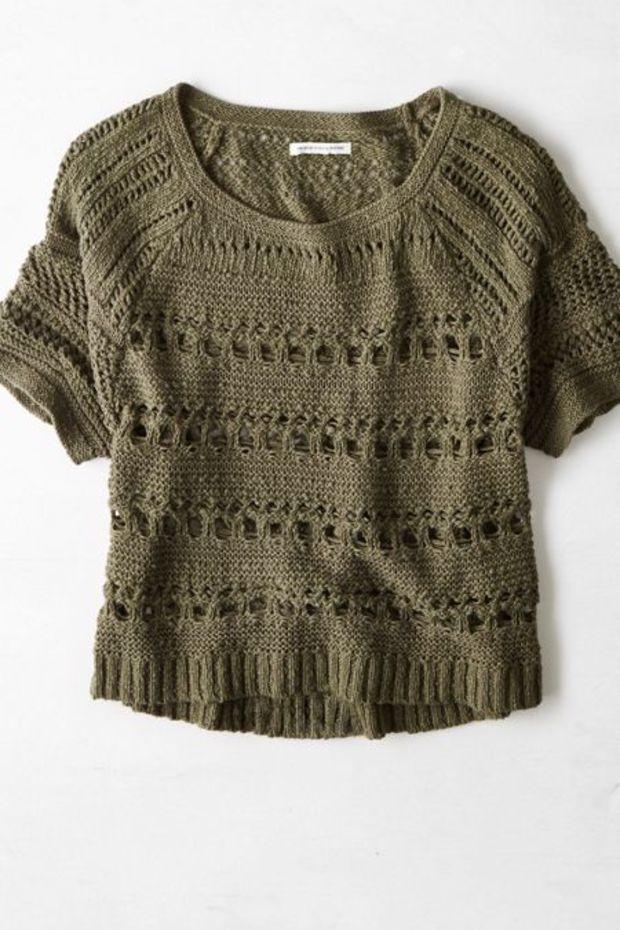 AEO Women's Open Knit Short Sleeve Sweater