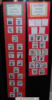 This would be a wonderful idea for fun things to do when home.  You could include chores too, this way they make the choice and empower themselves.  I'd most likely make mine a little smaller to help with sensory overload in the 'choice department.'