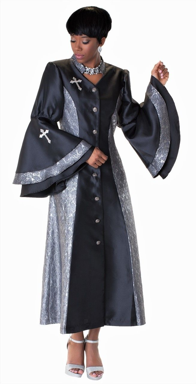 0b47d888a0f Ladies 1-Piece Preaching Robe Dress In Black   SIlver - Divinity Clergy Wear