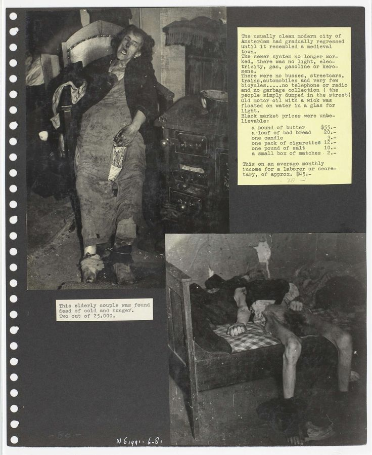 Anonymous | Echtpaar overleden van de honger, Anonymous, 1944 - 1945 | Twee foto's over de gevolgen van de honger. Foto boven: Een dode vrouw in haar stoel. Foto onder: Dode man in zijn bed. Beide werden pas gevonden toen zij al overleden waren.