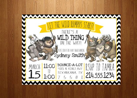 27 best where the wild things are images on pinterest | wild, Baby shower invitations