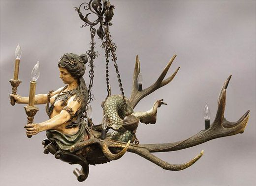 A Black Forest Mermaid Chandelier Dallas Auction Gallery