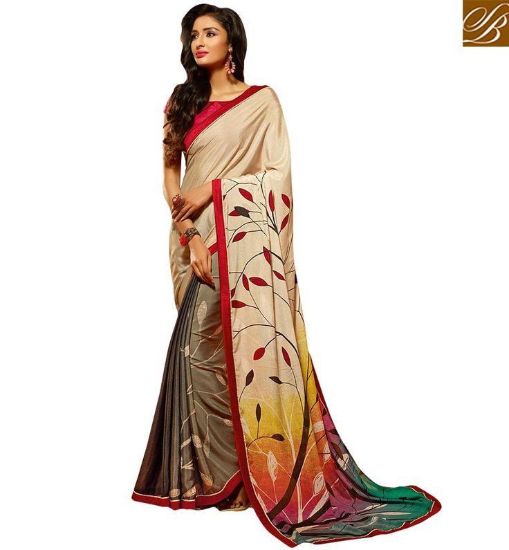 LOVELY NATURE INSPIRED DESIGNER PRINTED SARI HAW502 – Stylish Bazaar