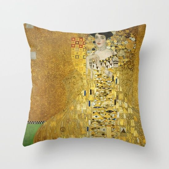 Pillow design @society6  featuring a 1907 painting by Gustav Klimt. The first of two portraits commissioned by Ferdinand Bloch-Bauer of his wife, Adel e. #gustavklimt #klimt #painting #society6 #art #greatartists #home #homedecor #livingroom #kunst #furnishings #classic #vintage