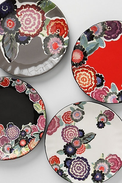 Zinnia Thicket Salad Plate, Grey - eclectic - dinnerware - Anthropologie