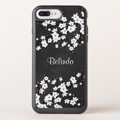 Black And White Cherry Blossom - black gifts unique cool diy customize personalize