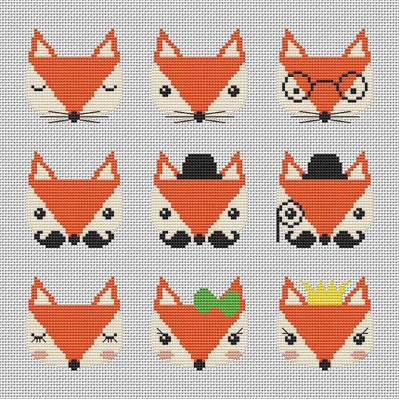 Nine cute fox cross stitch pattern Modern cross par AnnaXStitch