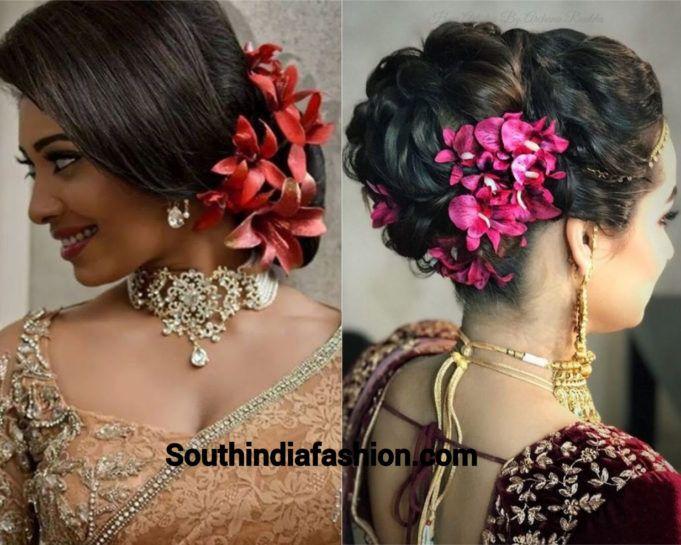 Indian Wedding Bun Hairstyle With Flowers And Gajra Wedding Bun Hairstyles Bun Hairstyles Hair Styles