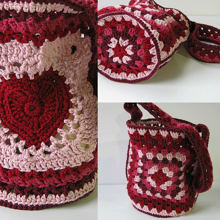 [Free Pattern] Wonderful Grannies And Hearts Bag