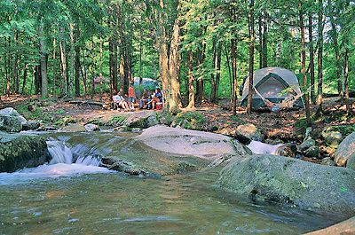 Family Camping In The White Mountains Of New Hampshire At