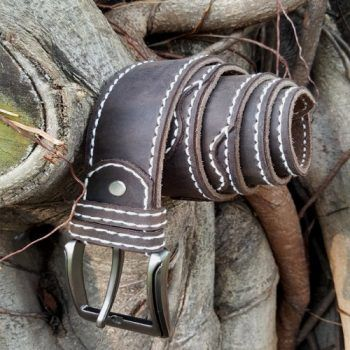 crazyhorse leather Belt Hand Stitch 001