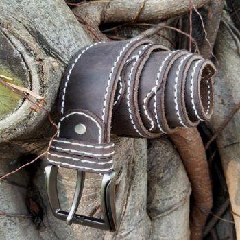 crazyhorse leather Belt Hand Stitch 001